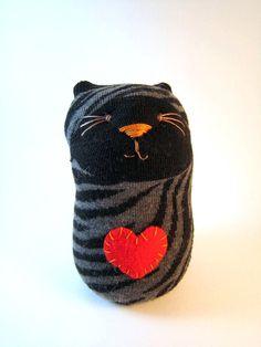 Black Animal Striped Sock Cat Plush.