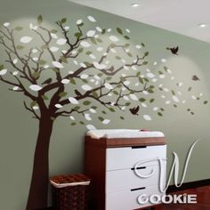 Wall decal, Tree with blowing leaves  - Nursery Wall Decal by DaisyCombridge