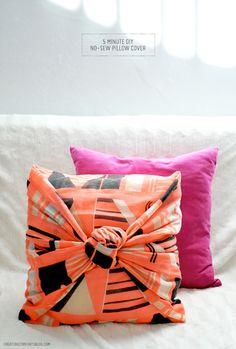 5 Minute DIY: No-Sew Decorative Pillow Cover