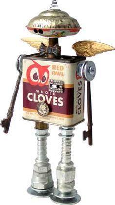 Amy Flynn's found object robots (fobots) #art found object art, robots, object robot, stuff, craft time, craft project, tin, soooo crafti