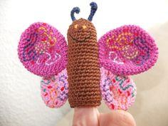 Crocheted finger puppet butterfly  Gehäkelte Fingerpuppe Schmetterling