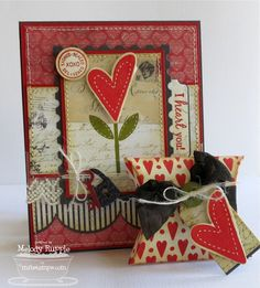 Homespun Hearts, Hearts and Stitches, Rustic Hearts Die-namics, Square Pillow Box Die-namics - Melody Rupple