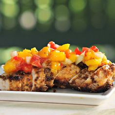 Molasses Dipped Chicken with Mango Salsa - Simply Sated