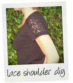 DIY lace shoulder shirt