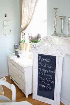 Repurposes mirror by filping it over and panting the back side with chalkboard pant.