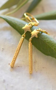 Geometric Gold Bar and Gold Star Drop Earrings