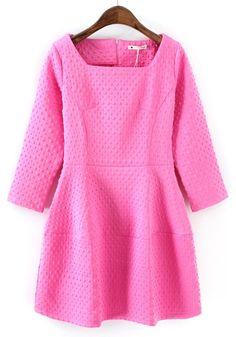 Pink Plain Pleated Nine's Sleeve Dress