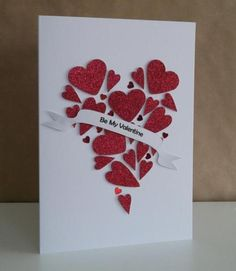 Beautiful Glittered Hearts Valentine Card...
