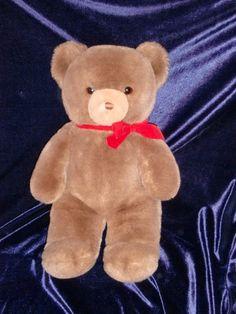 "Vintage Gund Tender Teddy Bear Brown 1983 Red Bow 16"" Stuffed Plush Animal Toy"