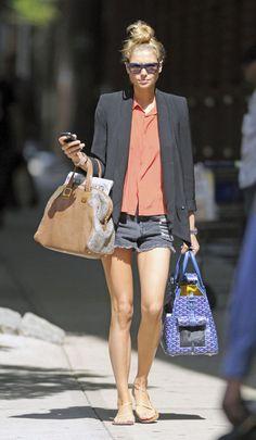 top knot. blazer. shorts.