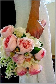 bridal bouquets, wedding bouquets, flower quotes, peonies and lily of the valley, bride