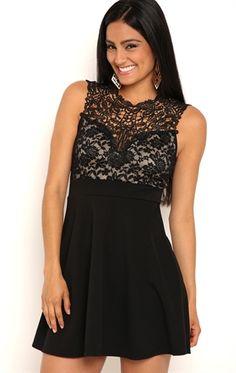 deb shops black skater dresses with lace $24.85