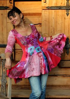 Crazy recycled patchwork dress