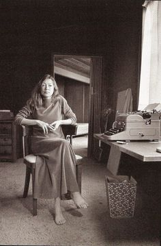 """Heartbreakingly honest writer...    """"I write entirely to find out what I'm thinking, what I'm looking at, what I see and what it means. What I want and what I fear.""""    Joan Didion (born December 5, 1934) is an American author best known for her novels and her literary journalism."""