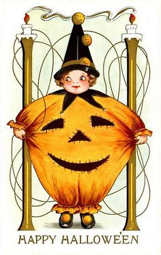 Vintage Happy Halloween postcard. #vintage #Halloween #postcards #cute