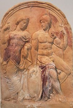 Venus & Mars depicted on a painted terracotta antefix. The bare-shouldered goddess of love lifts her veil to the helmeted god of war. Rome, Augustan period (late 1 BCE-early 1CE). New York, Metropolitan Museum of Art.
