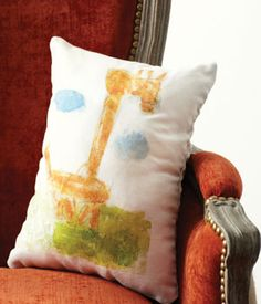 Great DIY decor how-to: One-of-a-kind throw pillows made from your child's artwork! for playroom