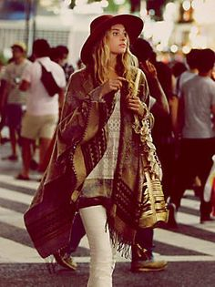 Free People Border Tapestry Poncho, Boho chic style modern hippie fashion trend