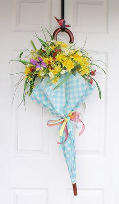 doors, uniqu spring, easter, unique wreath, door decor, umbrella wreaths, umbrella door, spring wreaths, door wreath