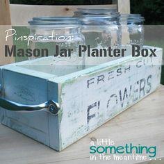 decor, craft, shabby chic, bridal parties, mason jars, garden, planter boxes, tea lights, jar planter