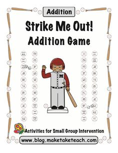Free baseball-themed game for practicing addition facts
