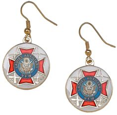 Ladies Auxiliary earrings, gold & white. $8.95 auxiliari earring
