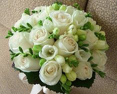 Freesia and rose white bouquet