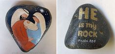 The Heart of Christmas reversible nativity scene painted rock