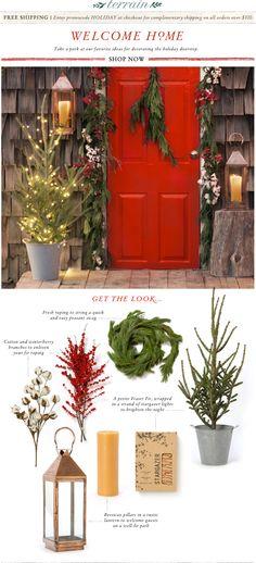 terrain, red doors, holiday doorstep, outdoor, doorstep decor, front doors, front porches, christma, the holiday