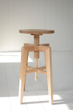 Solid Quarter Sawn White Oak Adjustable Bar Stool by hedgehouse