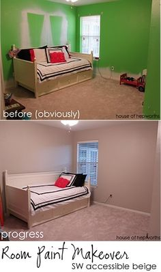 Room paint makeover. Sherwin Williams SW Accessible Beige. Great neutral greige color. houseofhepworths.com