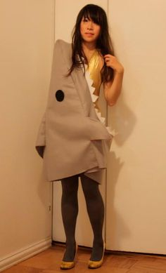 DIY Women Halloween Costumes  : DIY Lucky Little Shark: Happy Halloween because yes who doesnt want to be a shark
