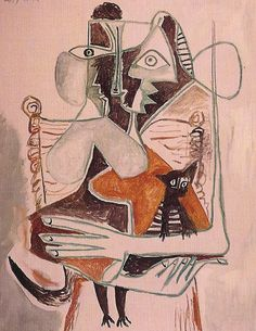 woman and cat   oil painting, 1964   Picasso