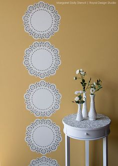 Stencil How-to: Lace Doily Stripe Tutorial using Lace Doily Stencil from Royal Design Studio