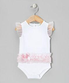 White & Pink Ruffle Bodysuit - Infant
