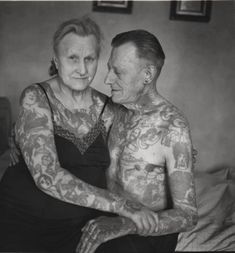 Aw. Old tattoo love <3 I adore this. For those that wonder if people will regret their tats at older age... I don't think so as they are part of our history and how we choose to remember it.