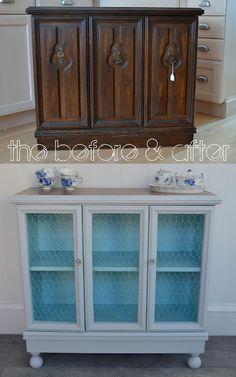 70s cabinet to chicken-wire cottage cabinet!