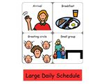 Preschool Daily Routine (Large) – Picture symbols to create a classroom visual schedule with the appropriate parts of a preschool routine.