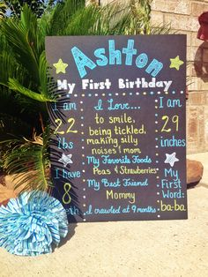 First Birthday Poster/Board for Baby Boy  https://www.etsy.com/listing/151850834/custom-hand-painted-birthday-poster?ref=cat_gallery_2