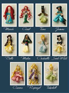 Disney Princess Magnetic Hair Ribbon/Accessory, so cute! stuff, hair ribbons, princess magnet, magnet hair, disney princesses, ribbon craft, craft idea, accesori, gift idea
