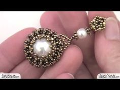 Beaded bezel pearl: beaded earrings made with a bezeled pearl, Seed beads and Delica beads - YouTube