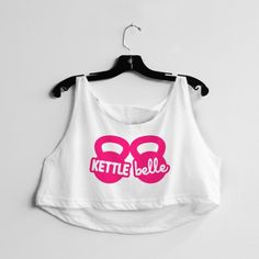 Kettle Belle Crop Top #kettlebell #belle #pink #workout #fitness #exercise #gym #feminism
