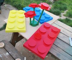 Lego for the garden :) yard, garden decorations, kid rooms, children toys, gardens, garden parties, display, cement, lego