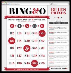 B I N G O graphic design, birthday parti, anniversary, inspiration, bingo collect, allan peter, cards, play bingo, bbdo