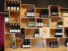 Love this random shelving made from wine crates.  Think about those cool old cigar boxes for this too!