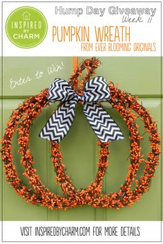 It's time for another #HumpDayGiveaway! Enter to win this fabulous Pumpkin Wreath from Ever Blooming Originals on the blog today!  Enter here: http://www.inspiredbycharm.com/2013/09/hum-day-giveaway-week-11-ever-blooming-originals.html
