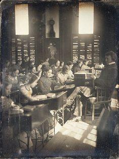 vintag, 1850 classroom, girl, photograph, schools
