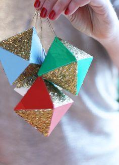 Sparkly Glitter DIY Geometric paper ornaments