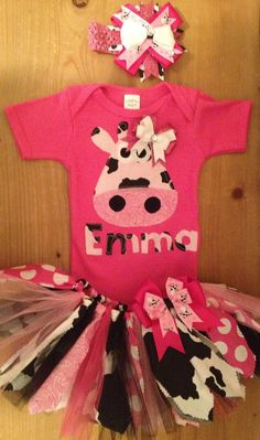 Pink and Black Girly Cow Tutu Outfit
