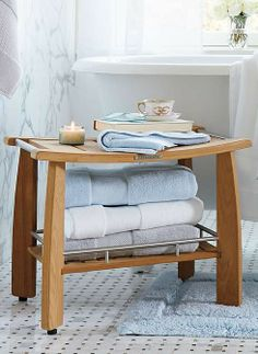 Keep your bathroom accessories within reach with our elegant Teak Shower Bench.